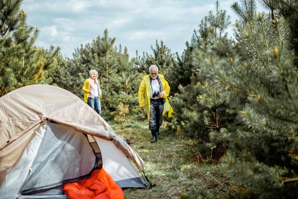 Tarpulin over tent